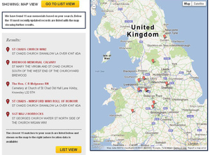 War Memorials Online search results map