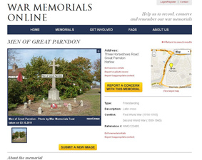 War Memorials Online Men of Gt Parndon record