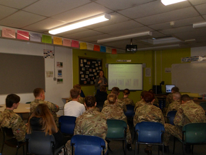 Desford Army Cadets listening to presentation by WMT's Learning Officer © War Memorials Trust, 2018