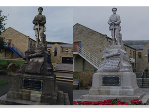 Men of Mytholmroyd war memorial before and after works © Calderdale Council, 2009 & A Holdsworth, 2012