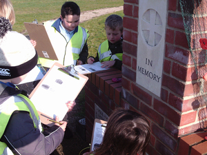 Year 3 and 4 pupils from Great Witchingam C of E Primary Academy carrying out a condition survey for Great Witchingham war memorial © War Memorials Trust, 2018