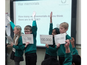 Year 4 pupils from Summerbank Primary School considering the number of war memorials in the UK © Martin Phillips, 2019
