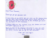 Thank you letter from pupil to War Memorials Trust