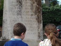 Children vistiting Radyr memorial, Bryn Deri Primary School © War Memorials Trust, 2017