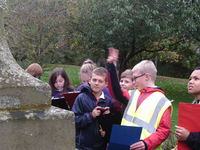 Pupils from Melrose Primary School carrying out condition survey for Melrose war memorial ©War Memorials Trust, 2017
